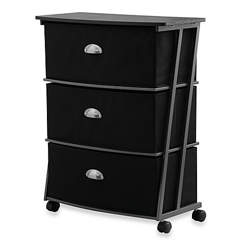 Studio 3b 3 drawer wide storage cart in black bed bath for Black bathroom drawers