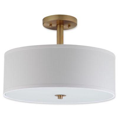 Buy drum shade ceiling light from bed bath beyond safavieh clara 3 light semi flush mount ceiling light in chrome aloadofball Images