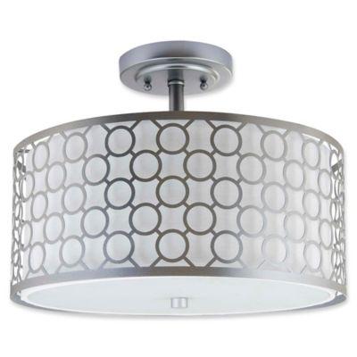 Buy drum shade ceiling light from bed bath beyond safavieh giotta circle trellis 3 light semi flush mount ceiling light in chrome aloadofball Gallery