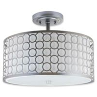 Safavieh Giotta Circle Trellis 3-Light Semi-Flush Mount Ceiling Light in Chrome