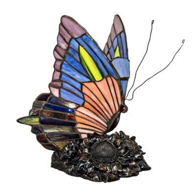 River Of Goods 8.75 Inch Stained Glass Butterfly Accent Lamp In Blue/Orange