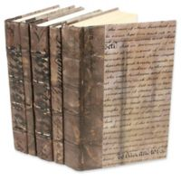Leather Books Parchment Re-bound Decorative Books in Metallic (Set of 5)