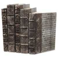 Leather Books Parchment Re-bound Decorative Books in Grey (Set of 5)