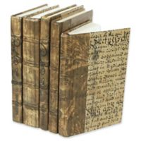 Leather Books Parchment Re-bound Decorative Books in Gold (Set of 5)
