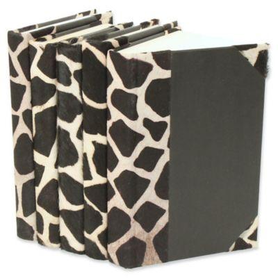 Leather Books Animal Hide Re Bound Decorative In Giraffe Print Set Of 5