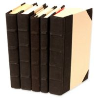 Leather Books Canvas Re-bound Decorative Books in Black (Set of 5)