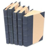 Leather Books Canvas Re-bound Decorative Books in Navy Blue (Set of 5)