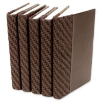 Leather Books Faux Leather Re-bound Decorative Books in Brown (Set of 5)