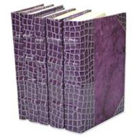 Leather Books Faux Crocodile Re-bound Decorative Books in Purple (Set of 5)