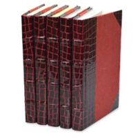 Leather Books Faux Crocodile Re-bound Decorative Books in Burgundy (Set of 5)