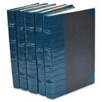 Leather Books Faux Crocodile Re-bound Decorative Books in Blue (Set of 5)