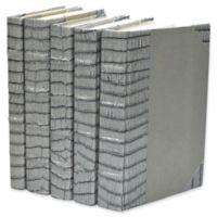 Leather Books Faux Crocodile Re-bound Decorative Books in Grey (Set of 5)