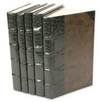 Leather Books Faux Crocodile Re-bound Decorative Books in Green (Set of 5)