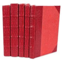 Leather Books Faux Crocodile Re-bound Decorative Books in Red (Set of 5)