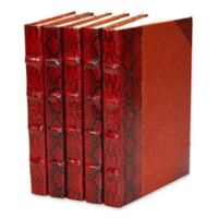 Leather Books Python Embossed Metallic Patent Re-bound Decorative Books in Red (Set of 5)