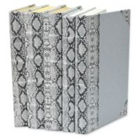 Leather Books Python Embossed Metallic Patent Re-bound Decorative Books in White (Set of 5)