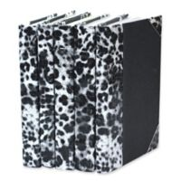 Leather Books Leopard Embossed Metallic Patent Re-bound Decorative Books in White (Set of 5)