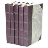 Leather Books Marbled Parchment Re-bound Decorative Books in Purple (Set of 5)