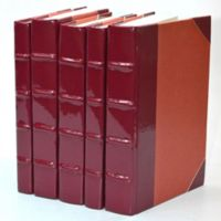 Leather Books Patent Leather Re-bound Decorative Books in Burgundy (Set of 5)
