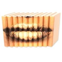 Leather Books Lips Parchment Re-bound Decorative Books in Gold (Set of 10)