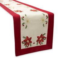 Creative Home Ideas Poinsettia Embroidered 72-Inch Table Runner