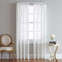 Lyric 95-Inch Rod Pocket Sheer Window Curtain Panel in White