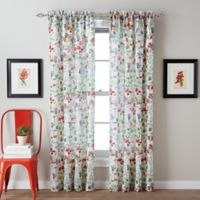 Botanical Garden Tailored 95-Inch Rod Pocket Window Curtain Panel in Red