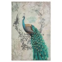 Yosemite Home Décor Peacock Poise II Mixed Media 24-Inch x 35-Inch Canvas Wall Art