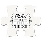"WallVerbs™ Mix & Match Puzzle Wall Art ""Enjoy the Little Things"" Piece in White"