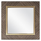 Square 13-Inch Veneer Mirror in Brown
