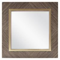 Square 13-Inch Veneer Mirror in Brown