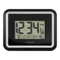 La Crosse Technology 8-Inch Silver Rim Atomic Digital Wall Clock in Black