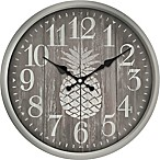 Pineapple Print Wall Clock in White