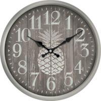 Pineapple Print Wall Clock in White