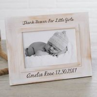 Precious Baby Engraved Picture Frame in White Wash