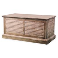 Southern Enterprises Abram Louvered Trunk Coffee Table in Oak