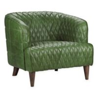 Moe's Home Collection Magdelan Diamond-Tufted Leather Arm Chair in Dark Green