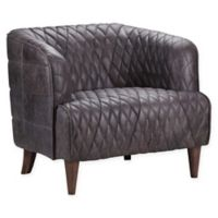 Moe's Home Collection Magdelan Diamond-Tufted Leather Arm Chair in Brown