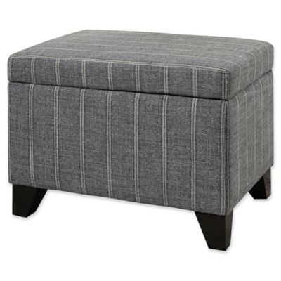 Abbyson Living® Claire Pinstripe Storage Ottoman In Grey
