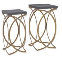 Linon Home Concrete-Style 2-Piece Nesting Accent Table Set in Gold