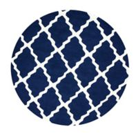 nuLOOM Marrakech Trellis 8-Foot Round Area Rug in Navy Blue