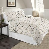 Pointehaven 170 GSM Flannel Twin/Twin XL Duvet Cover Set in White/Brown