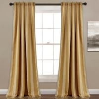 Lush Décor Julia Stripe 84-Inch Rod Pocket Room Darkening Window Curtain Panel Pair in Taupe