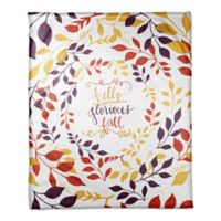 "Designs Direct ""Hello Glorious Fall"" Throw Blanket in Yellow"