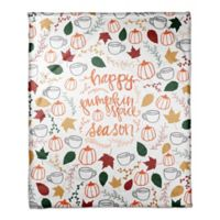 "Designs Direct ""Happy Pumpkin Spice Season"" Throw Blanket in White"