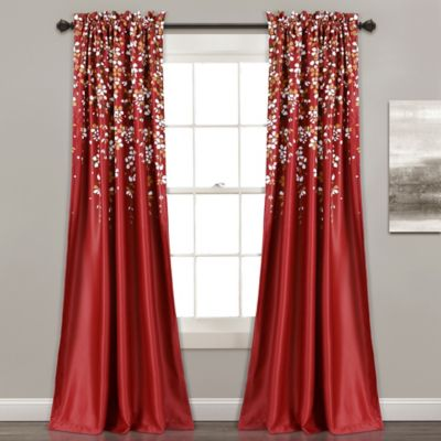 lush dcor weeping flower 84inch room darkening window curtain panel pair in red