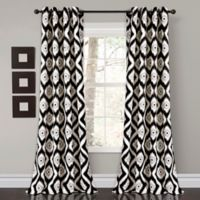 Lush Décor Diamond Ikat 84-Inch Room Darkening Window Curtain Panel Pair in Black