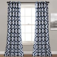 Diamond Ikat 84-Inch Room Darkening Window Curtain Panel Pair in Navy