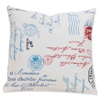 SIScovers® Postscript 16-Inch Square Throw Pillow in Beige/Blue