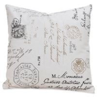 SIScovers® Postscript 16-Inch Square Throw Pillow in Off White/Black